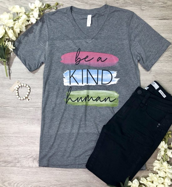 *Kendra's Collection* Be Kind Human V-Neck T-Shirt, Gray