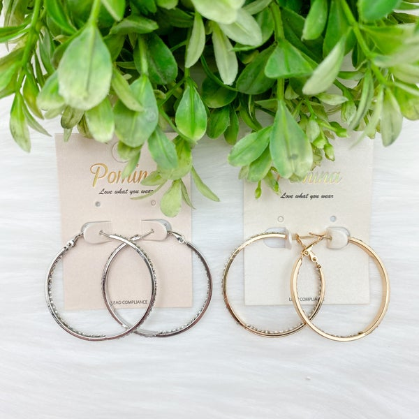 Rhinestone Shiny Hoop Earrings *Final Sale*