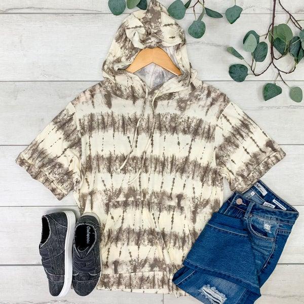 Tie Dye Short Sleeve Hooded Pullover, Mocha