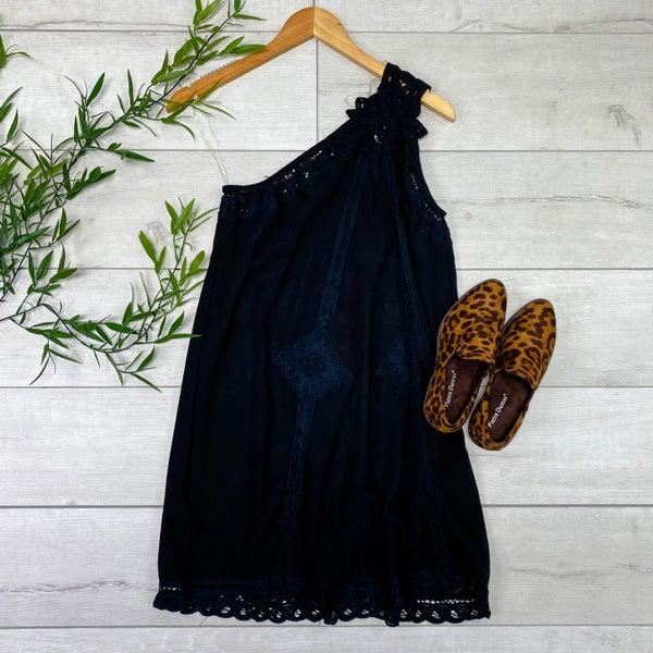 One Shoulder Lace Trim Dress, Black