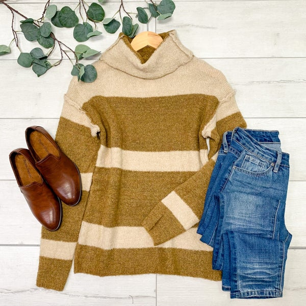*Kendra's Collection* Turtle Neck Striped Sweater, Brown *Final Sale*