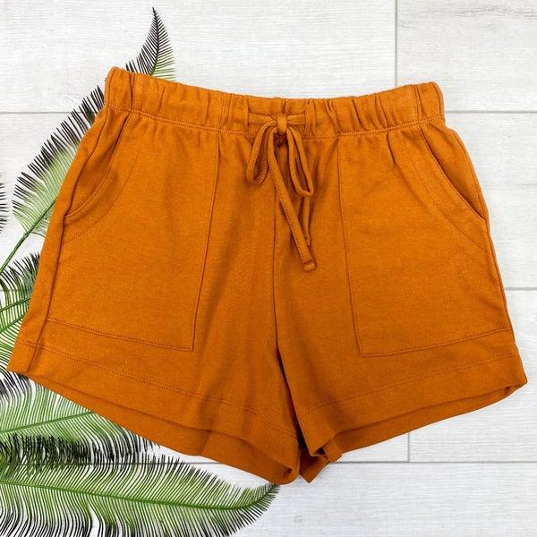 Solid Drawstring Shorts, Almond