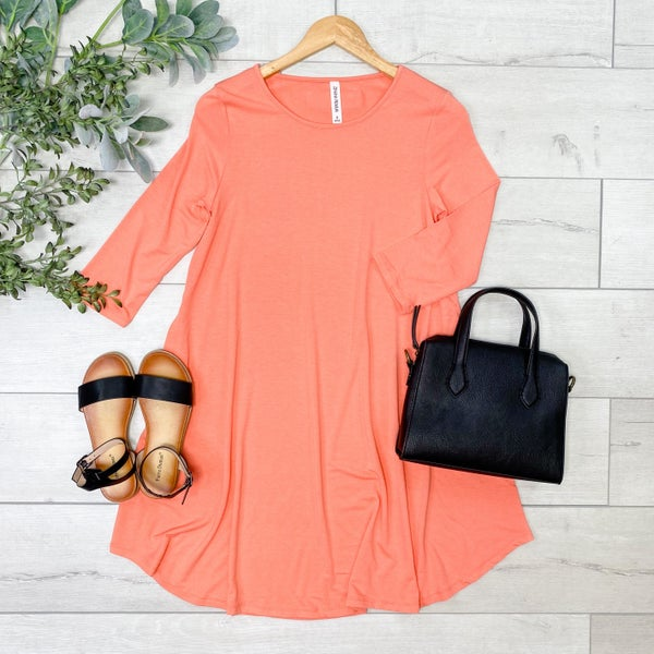 Solid Swing Dress w/Pockets, Deep Coral [[LIVE]]