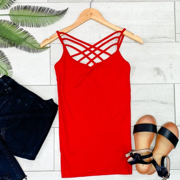 Criss Cross Neck Cami, Ruby