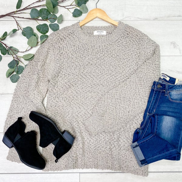 Solid Popcorn Sweater, Light Gray