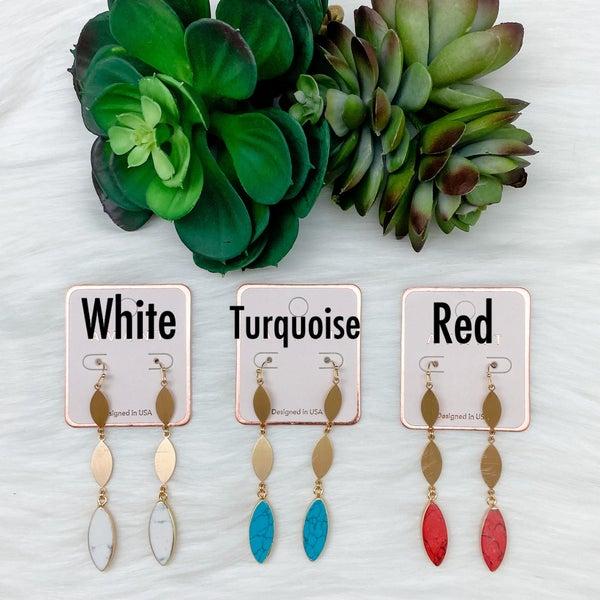 Oval Stone Drop Earrings *Final Sale*