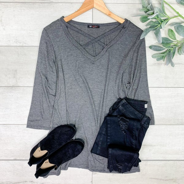 Criss Cross Tunic Top, Charcoal