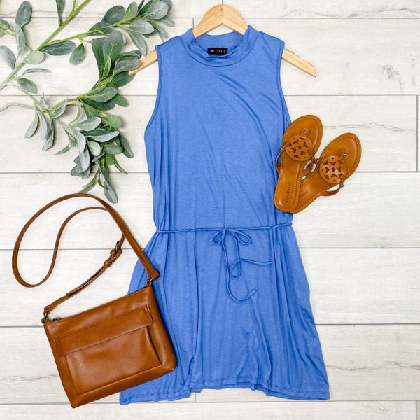 Sleevesless Tie Waist Dress, Blue