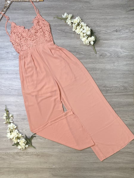 *Kendra's Collection* Crochet Lace Jumpsuit - PEACH
