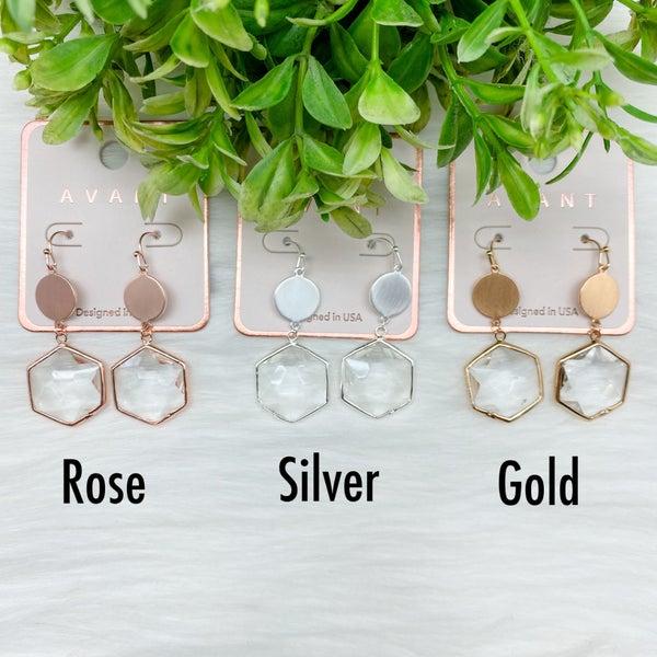 Hexagon Crystal Dangle Earrings