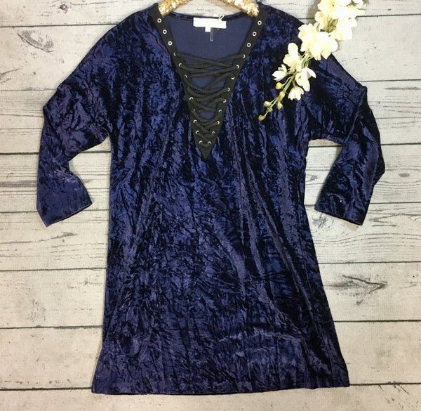 Velvet Dress w/ Lace Up Neck - MIDNIGHT BLUE (N) *LAST CALL - $5* [FINAL SALE]