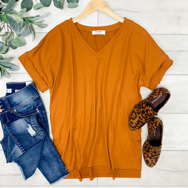 Solid Rolled Sleeve V-Neck, Almond