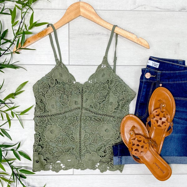 Lace Front Cami, Olive
