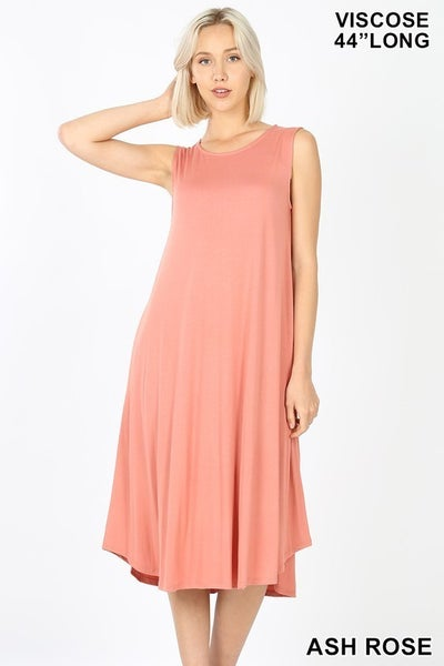 Sleeveless Midi Dress - ASH ROSE