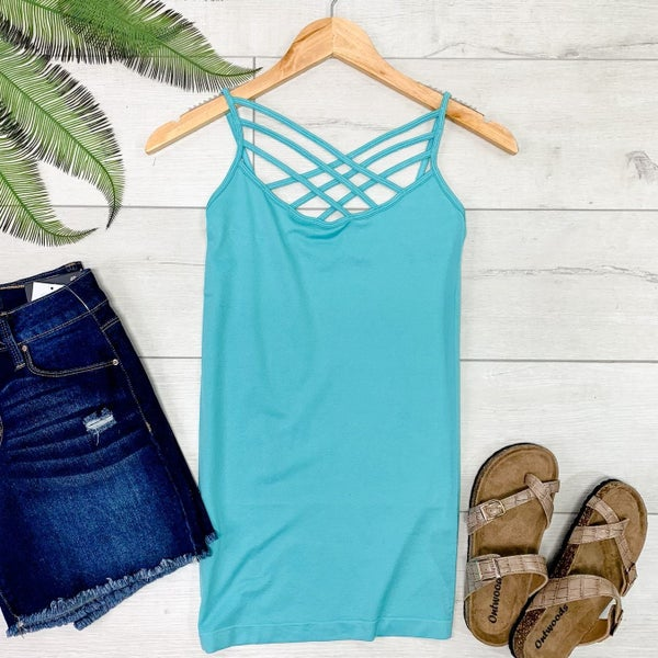 Criss Cross Neck Cami, Ash Mint