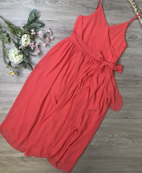Sleeveless Dress, Coral