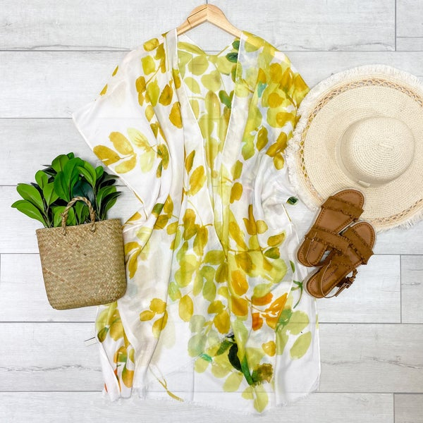 Floral leaf Print Kimono, Yellow