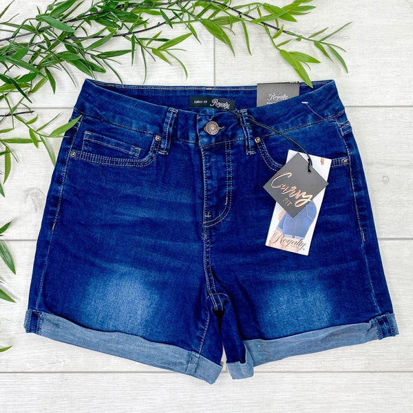 *YMI* Curvy Fit High Waist Cuffed Shorts - Dark Wash