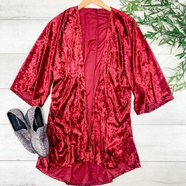 Velour Kimono, Burgundy