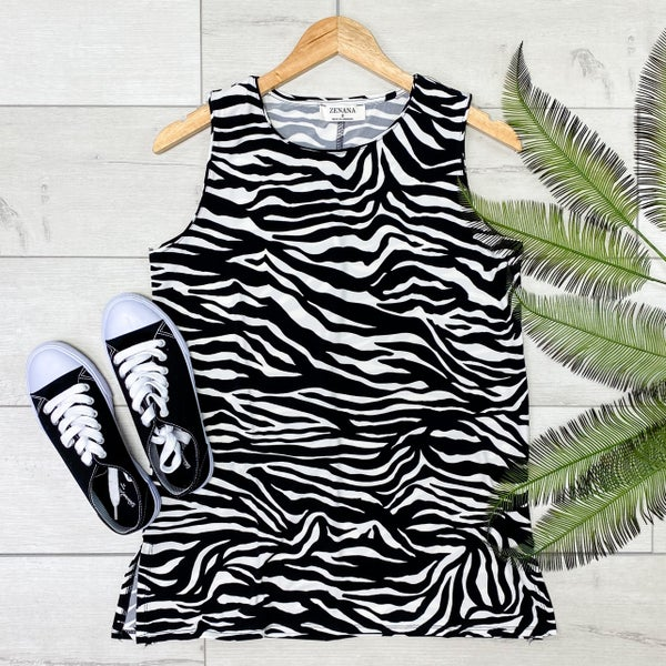 Zebra Striped Sleeveless Top, Black/White [[LIVE]]