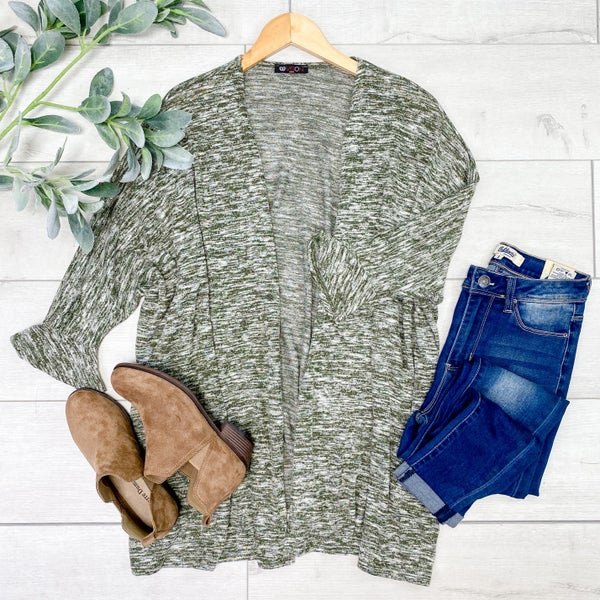 Heathered Ruffled Cuff Cardigan, Olive