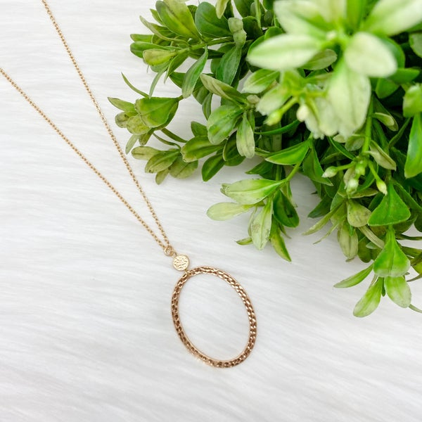 Oval Pendant Long Necklace, Gold