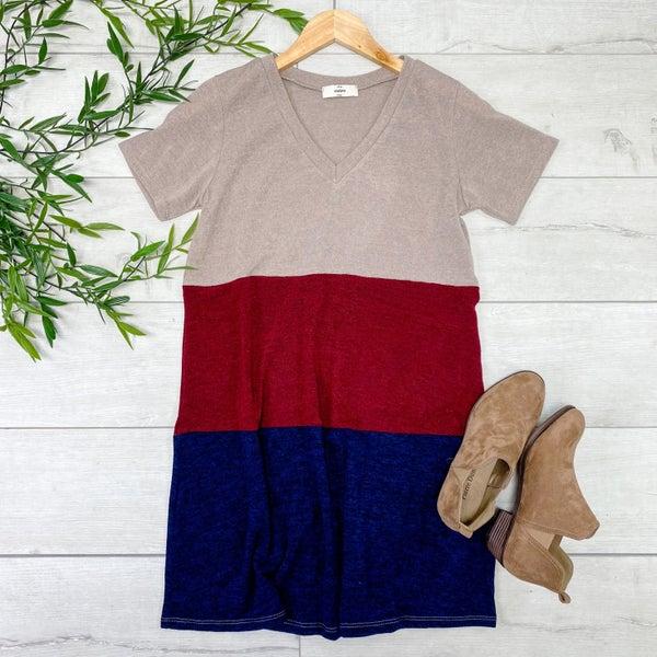 Color Block v-Neck Dress, Latte