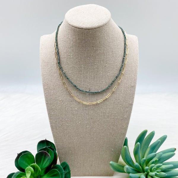 Bead and Chian Short Layered Necklace, Green