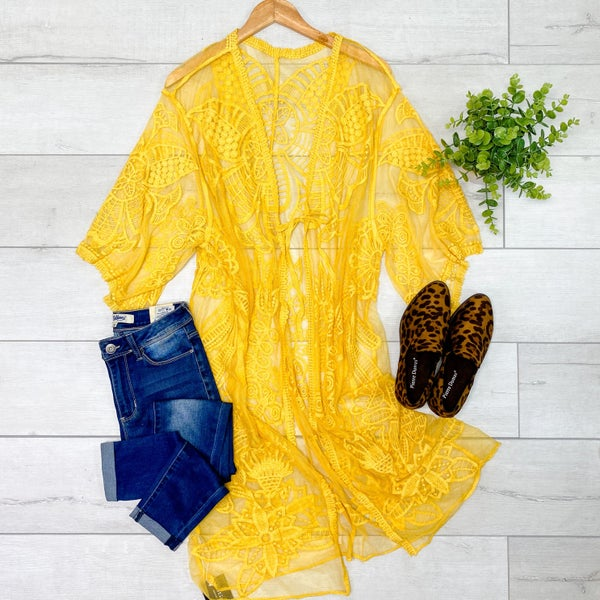 Lace Tie Kimono, Mustard