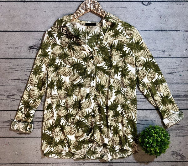 Pineapple Button Top - Ivory (N) *LAST CALL - $3* [FINAL SALE]