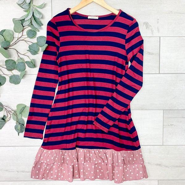 Striped Ruffle Bottom Dress, Burgundy/Navy