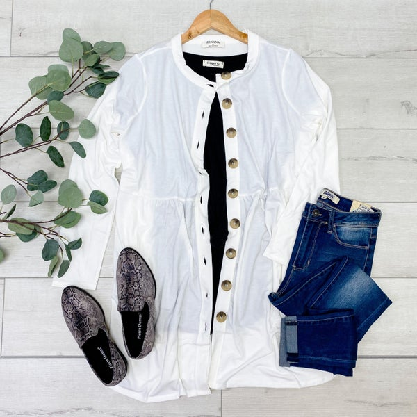 Babydoll Buttoned Cardigan, Ivory [[$18--LIVE]]