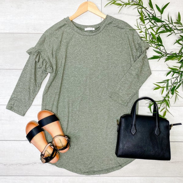 Ruffle Trimmed Heathered Top, Light Olive