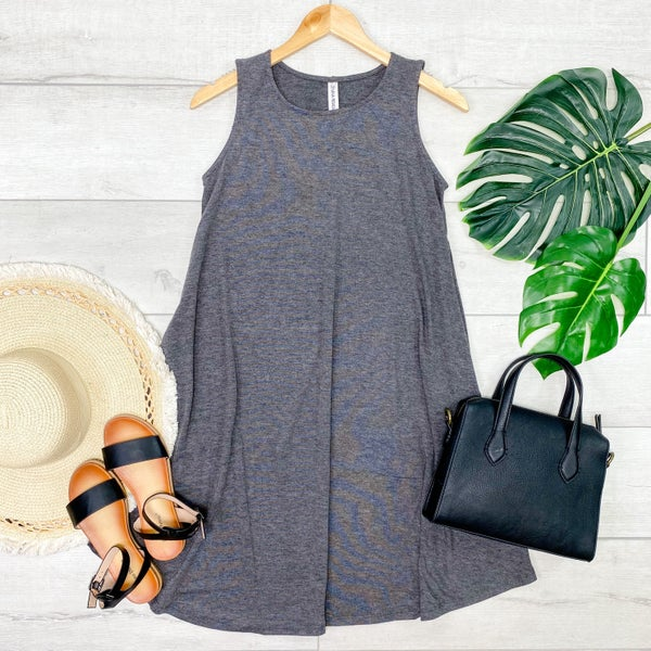 Solid Sleeveless Round Hem Dress, Charcoal [[LIVE]]