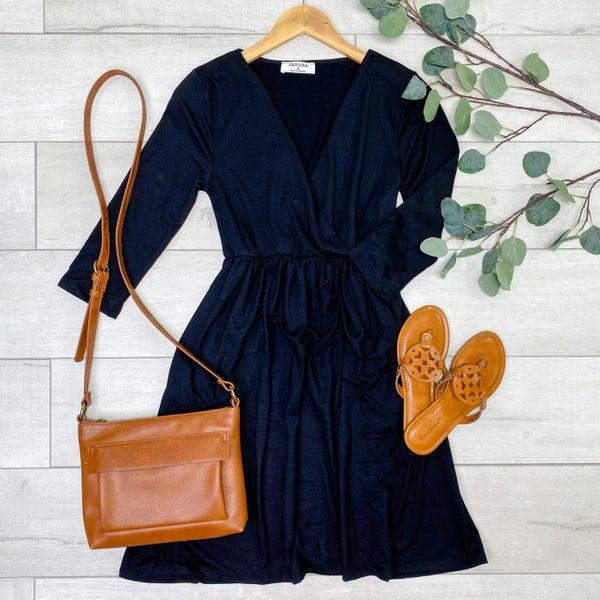 Cross Over Babydoll Dress, Black [[LIVE]]