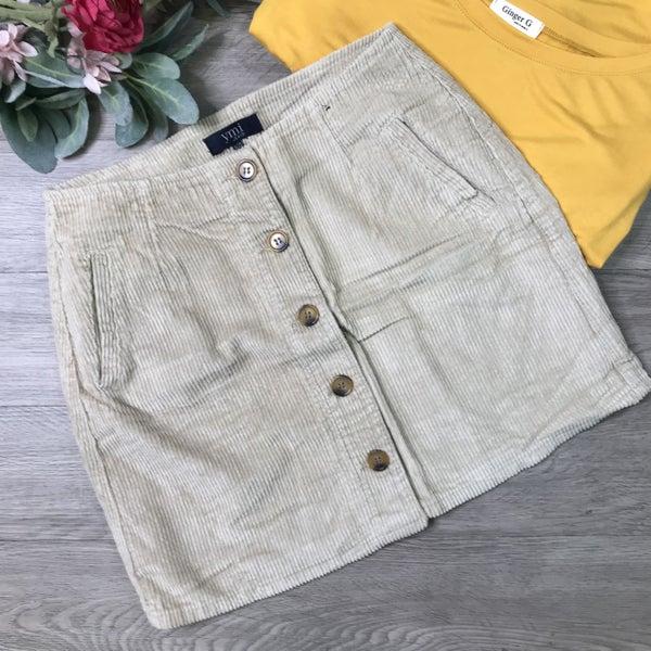 **YMI** Corduroy Button Front Skirt, Sand