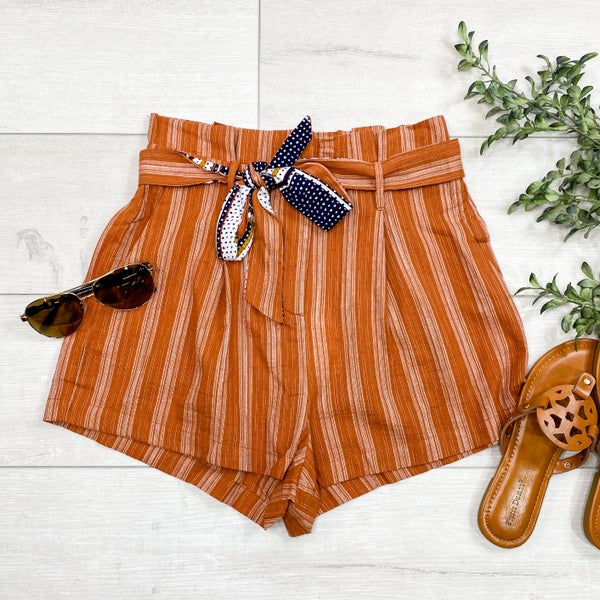 Striped Paperbag Shorts, Rust
