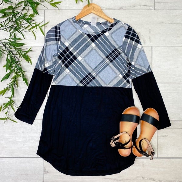 Contrast Solid and Plaid Tunic Top, Black