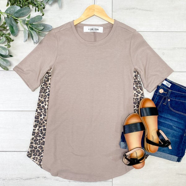 Leopard Contrast Side Top, Ash Mocha/Brown
