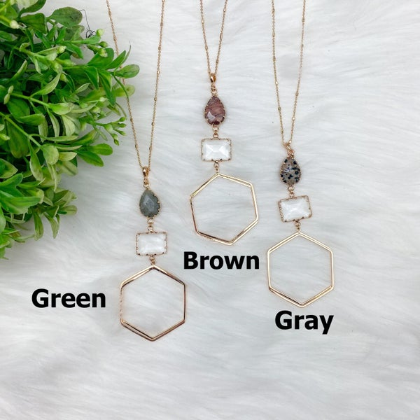 Long Hexagon Pendant Necklace w/Stone