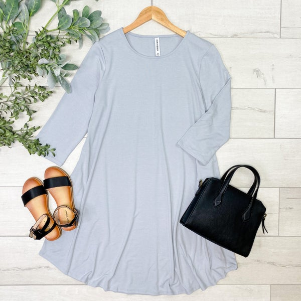*PLUS* Solid Swing Dress w/Pockets, Gray Mist [[LIVE]]