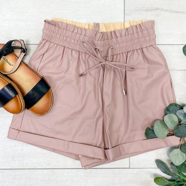 Faux Leather Paper Bag Shorts, Blush