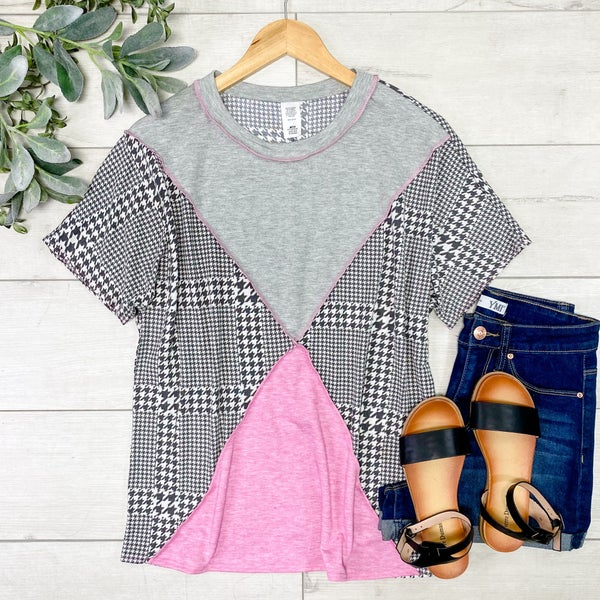 Contrast Solid and Houndstooth Pattern Top, Gray/Pink