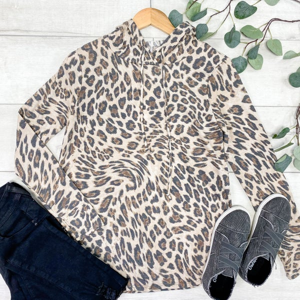 *Kendra's Collection* Leopard Print Hoodie Top *Final Sale*