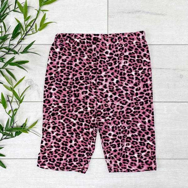 Leopard Print Biker Shorts - CRANBERRY