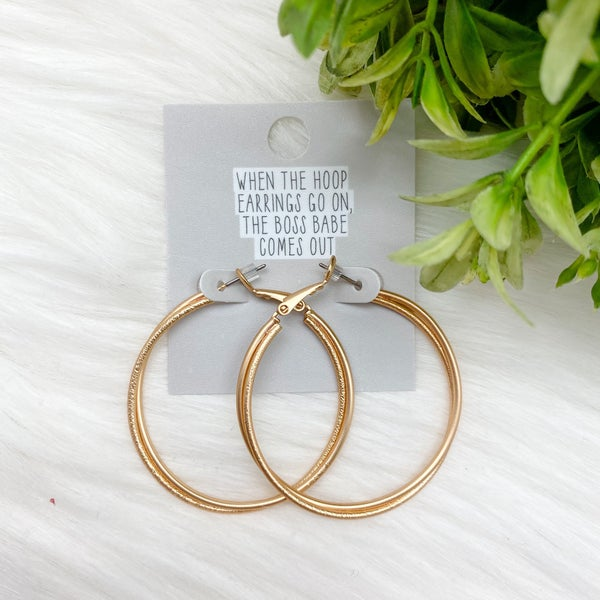 Twisted Double Hoop Earrings, Gold