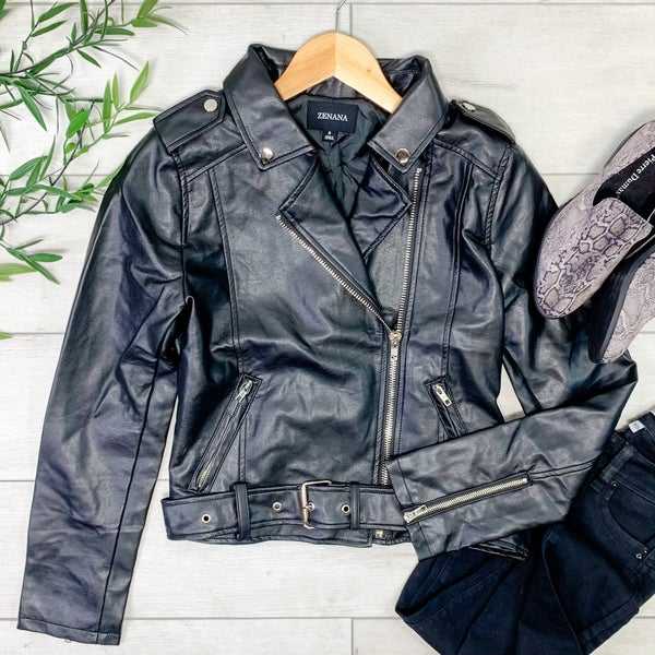 Vegan Leather Moto Jacket, Black