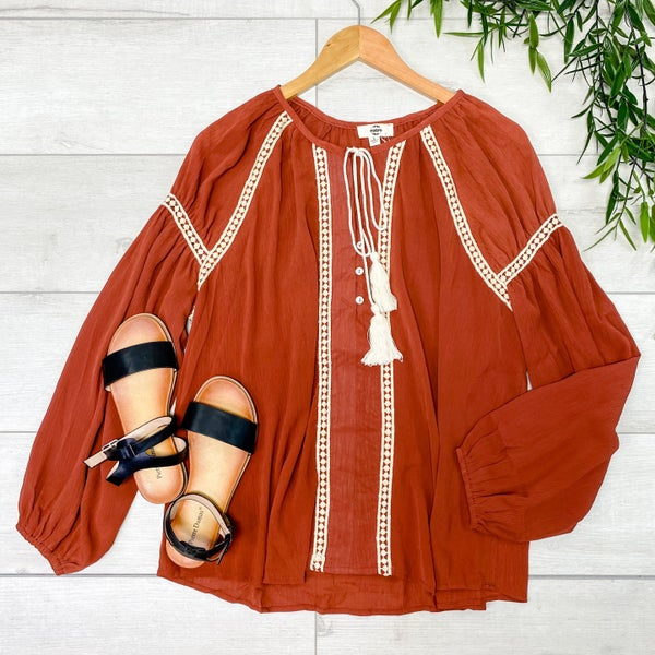 Tie Neck Peasant Top, Cinnamon