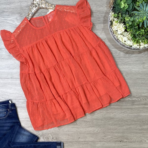 *Kendra's Collection* Polka Dot Ruffle Top, Sunkist