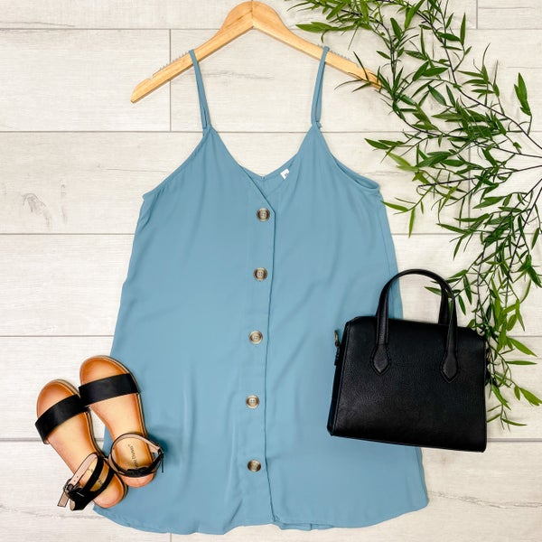 Woven Button Down Long Cami, Blue Gray [[LIVE]]
